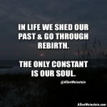 In life we shed our past and go through a rebirth. The only constant is our soul. By Allen Weinstein