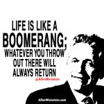 Life is like a boomerang; whatever you throw out there will always return. - Allen Weinstein