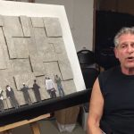 Allen Weinstein working on art piece.