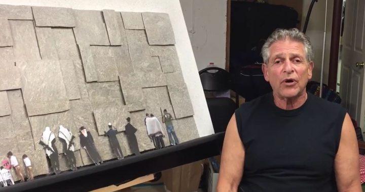 Allen Weinstein working on art piece.